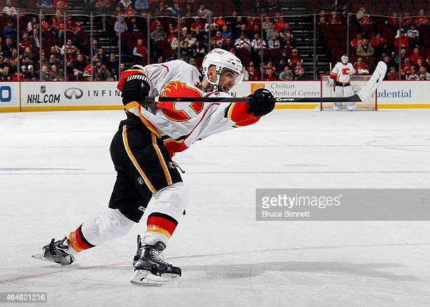 Mark Giordano of the Calgary Flames skates again the New Jersey Devils at the Prudential Center on February 25 2015 in Newark New Jersey