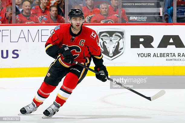Mark Giordano of the Calgary Flames skates against of the St Louis Blues during an NHL game at Scotiabank Saddledome on October 13 2015 in Calgary...