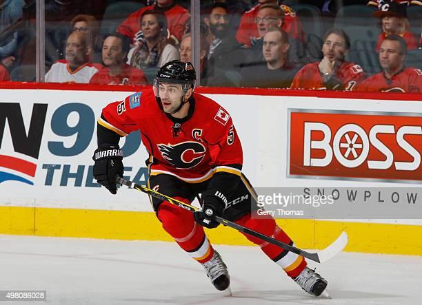 Mark Giordano of the Calgary Flames skates against the Chicago Blackhawks at Scotiabank Saddledome on November 20 2015 in Calgary Alberta Canada
