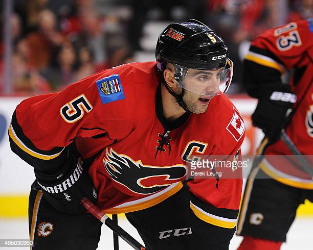 Mark Giordano of the Calgary Flames skates against the Montreal Canadiens during an NHL game at Scotiabank Saddledome on October 30 2015 in Calgary...