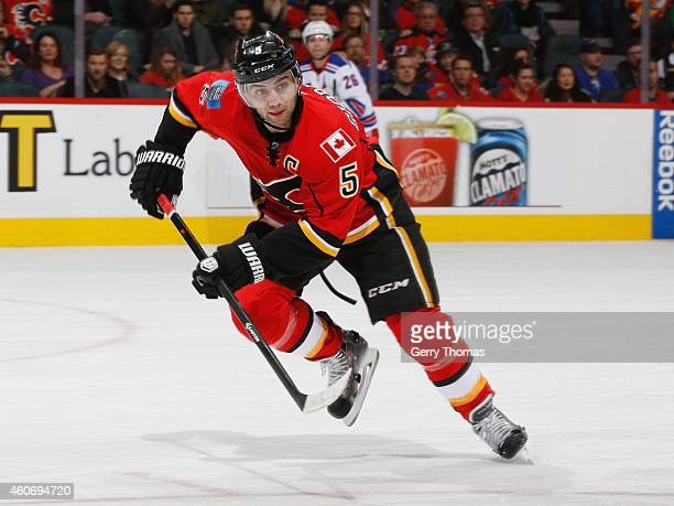 Mark Giordano of the Calgary Flames skates against the New York Rangers at Scotiabank Saddledome on December 16 2014 in Calgary Alberta Canada