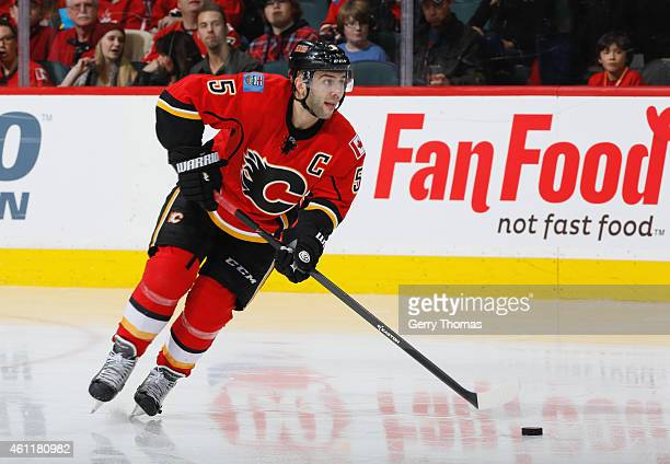 Mark Giordano of the Calgary Flames skates against the New York Islanders at Scotiabank Saddledome on January 2 2015 in Calgary Alberta Canada