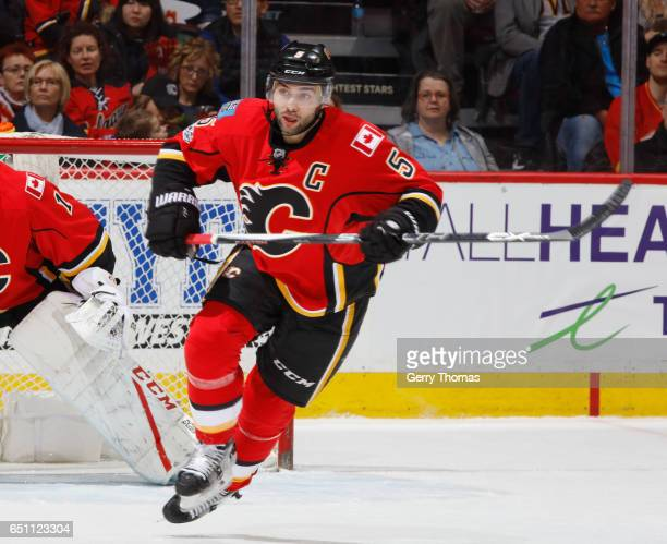 Mark Giordano of the Calgary Flames skates against the New York Islanders at Scotiabank Saddledome on March 5 2017 in Calgary Alberta Canada