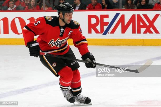 Mark Giordano of the Calgary Flames skates against the Ottawa Senators at Scotiabank Saddledome on March 5 2014 in Calgary Alberta Canada The Flames...