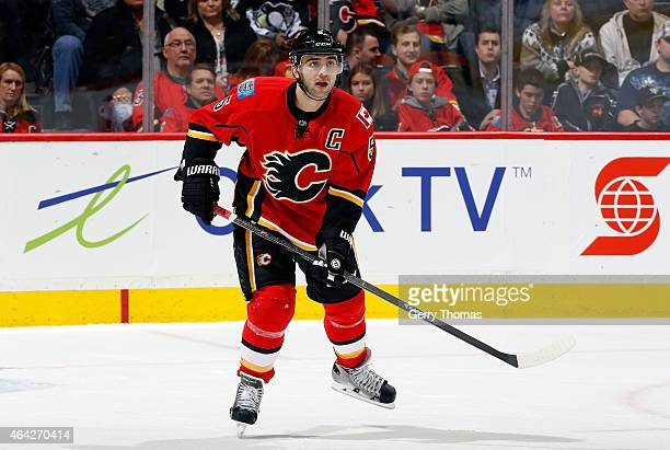 Mark Giordano of the Calgary Flames skates against the Pittsburgh Penguins at Scotiabank Saddledome on February 6 2015 in Calgary Alberta Canada The...