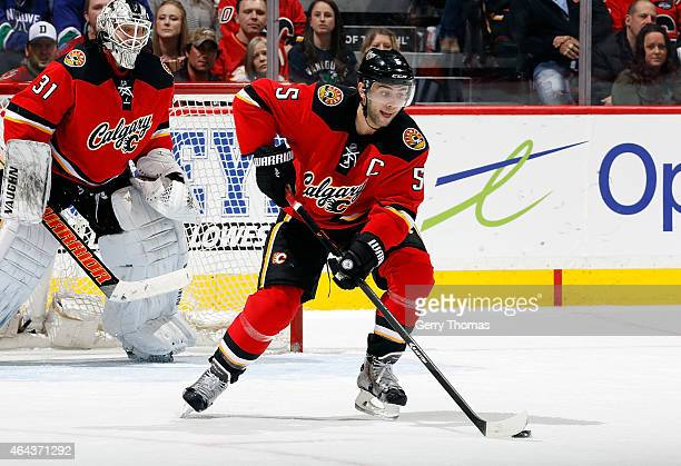 Mark Giordano of the Calgary Flames skates against the Vancouver Canucks at Scotiabank Saddledome on February 14 2015 in Calgary Alberta Canada The...