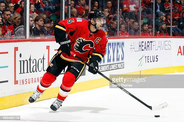 Mark Giordano of the Calgary Flames skates against the Washington Capitals during an NHL game at Scotiabank Saddledome on October 20 2015 in Calgary...