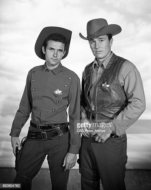 Mark Goddard as deputy Cully and Don Durant as Johnny Ringo star in the CBS western television program 'Johnny Ringo' Image dated July 24 Hollywood CA
