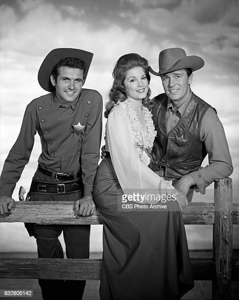 Mark Goddard as deputy Cully Karen Sharpe as Laura Thomas and Don Durant as Johnny Ringo star in the CBS western television program 'Johnny Ringo'...