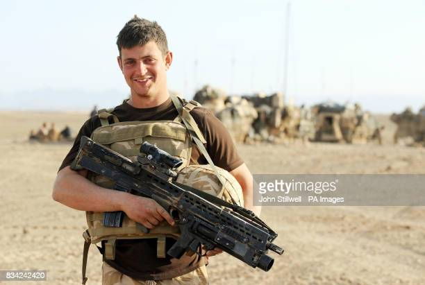 Mark Goddard of the Household Cavalry Regiment REME serving alongside Prince Harry in Helmand Provence Southern Afghanistan