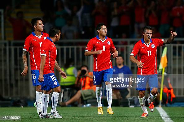 Mark Gonzalez of Chile celebrates after scoring the third goal of his team during an international friendly match between Chile and USA at El...