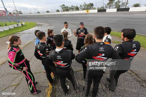 Mark Green talks to 2017 NASCAR Drive for Diversity Combine participants at New Smyrna Speedway on October 17 2017 in New Smyrna Florida