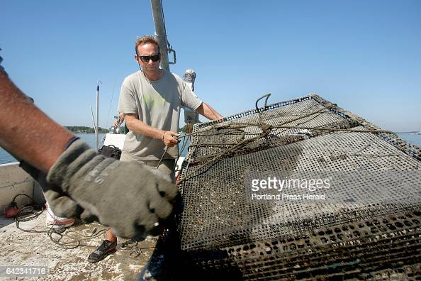 Mark Green tosses a cage of oyster seeds into the water off the coast of Yarmouth on September 17 2015 Green operates Basket Island Oyster Co and is...