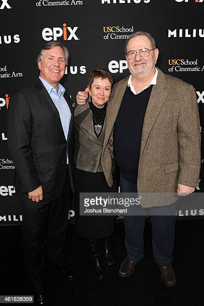 Mark Greenberg Dean Elizabeth M Daily and John Milius arrive at EPIX USC Host An Evening With John Milius at USC Norris Theatre on January 9 2014 in...