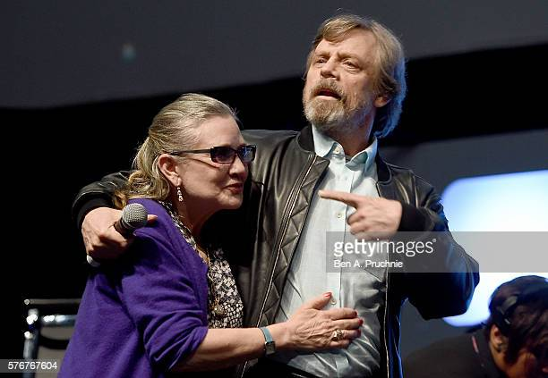 Mark Hamill and Carrie Fisher on stage during Future Directors Panel at the Star Wars Celebration 2016 at ExCel on July 17 2016 in London England
