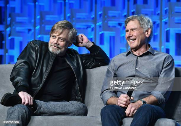 Mark Hamill and Harrison Ford attend the Star Wars Celebration Day 1 on April 13 2017 in Orlando Florida