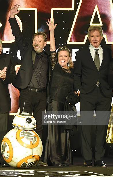 Mark Hamill Carrie Fisher and Harrison Ford attend the European Premiere of 'Star Wars The Force Awakens' in Leicester Square on December 16 2015 in...