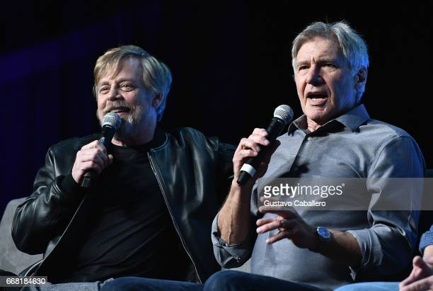 ORLANDO FL APRIL 13 Mark Hamill Harrison Ford attends the Star Wars Celebration day 01 on April 13 2017 in Orlando Florida