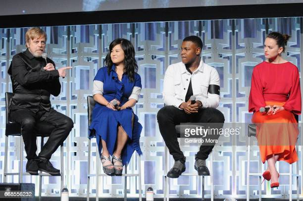 Mark Hamill Kelly Marie Tran John Boyega and Daisy Ridley attend the Star Wars The Last Jedi panel during the 2017 Star Wars Celebration at Orange...