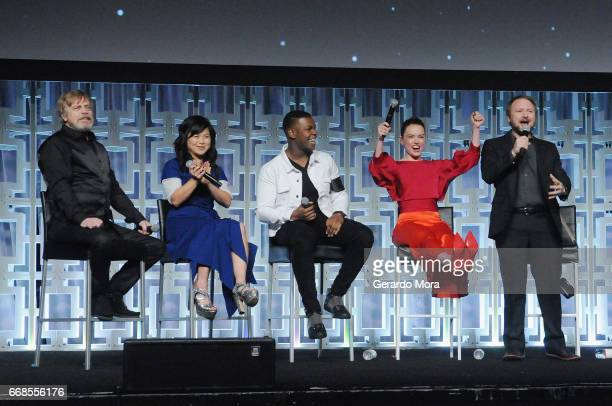 Mark Hamill Kelly Marie Tran John Boyega Daisy Ridley and Rian Johnson attend the Star Wars The Last Jedi panel during the 2017 Star Wars Celebration...