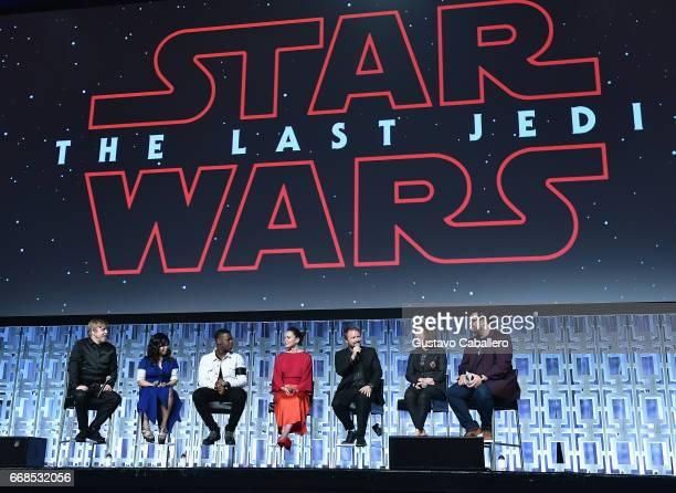 Mark Hamill Kelly Marie Tran John Boyega Daisy Ridley Rian Johnson Kathleen Kennedy and Josh Gad attend the Star Wars Celebration day 02 on April 14...