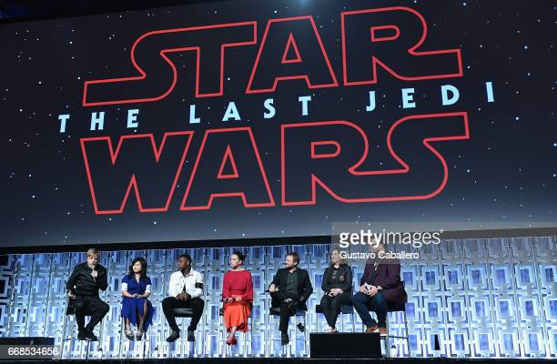 Mark Hamill Kelly Marie Tran John Boyega Daisy Ridley Rian Johnson Kathleen Kennedy and Josh Gad attends the Star Wars Celebration day 02 on April 14...