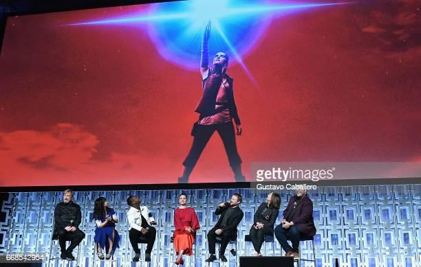 Mark Hamill Kelly Marie Tran John Boyega Daisy Ridley Rian Johnson Kathleen Kennedy and Josh Gad attends the Star Wars Celebration day 02 on April 14...