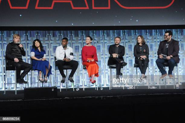 Mark Hamill Kelly Marie Tran John Boyega Daisy Ridley Rian Johnson Kathleen Kennedy and Josh Gad attend the Star Wars The Last Jedi panel during the...