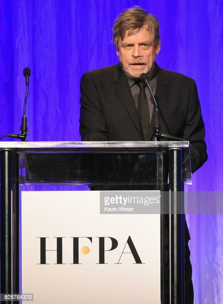 Mark Hamill speaks onstage at the Hollywood Foreign Press Association's Grants Banquet at the Beverly Wilshire Four Seasons Hotel on August 2 2017 in...