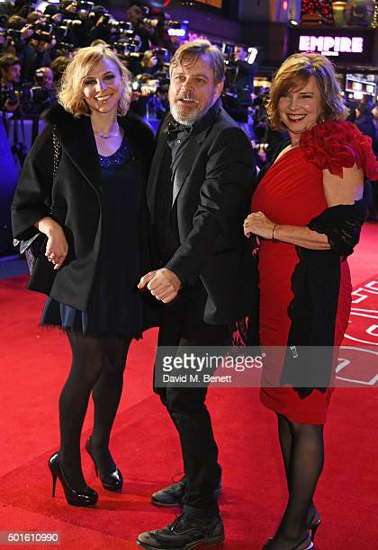 Mark Hamill with daugher Chelsea Hamill and wife Marilou York attend the European Premiere of 'Star Wars The Force Awakens' in Leicester Square on...