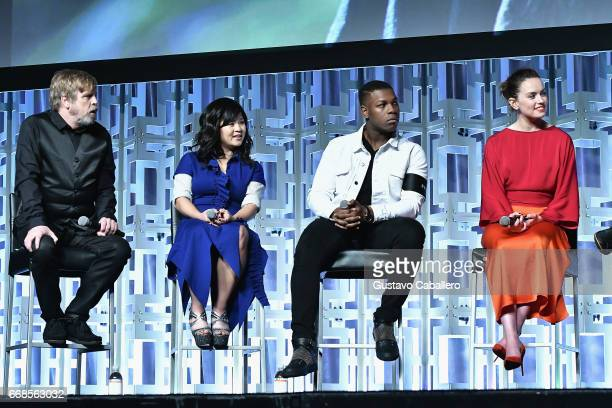 Mark HamillKelly Marie TranJohn Boyega and Daisy Ridley attends the Star Wars Celebration day 02 on April 14 2017 in Orlando Florida