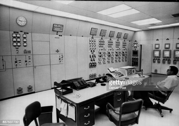 Mark Harper of Fort Smith Mont sits at control desk in control room inside Yellowtail Dam and power plant This room lins the 250000kilowatt...