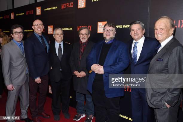Mark Harris Laurent Bouzereau Lawrence Kasdan Steven Spielberg Guillermo del Toro Ted Sarandos and George Stevens Jr attend the 'Five Came Back'...