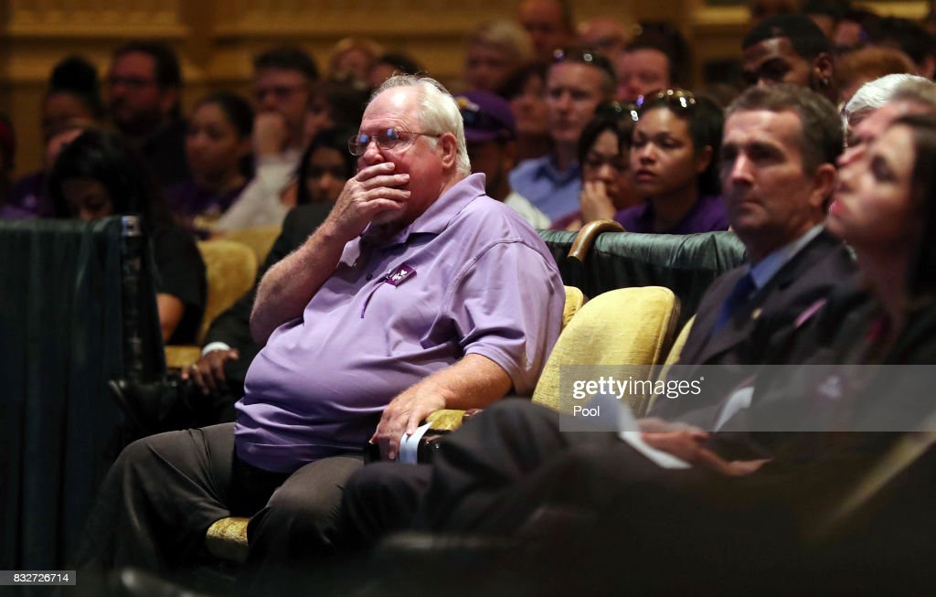 Mark Heyer, the father of Heather Heyer, gets emotional during a memorial service for his daughter at the Paramount Theater on August 16, 2017 in Charlottesville, Va. Heyer was killed Saturday, when a car rammed into a crowd of people protesting a white nationalist rally.