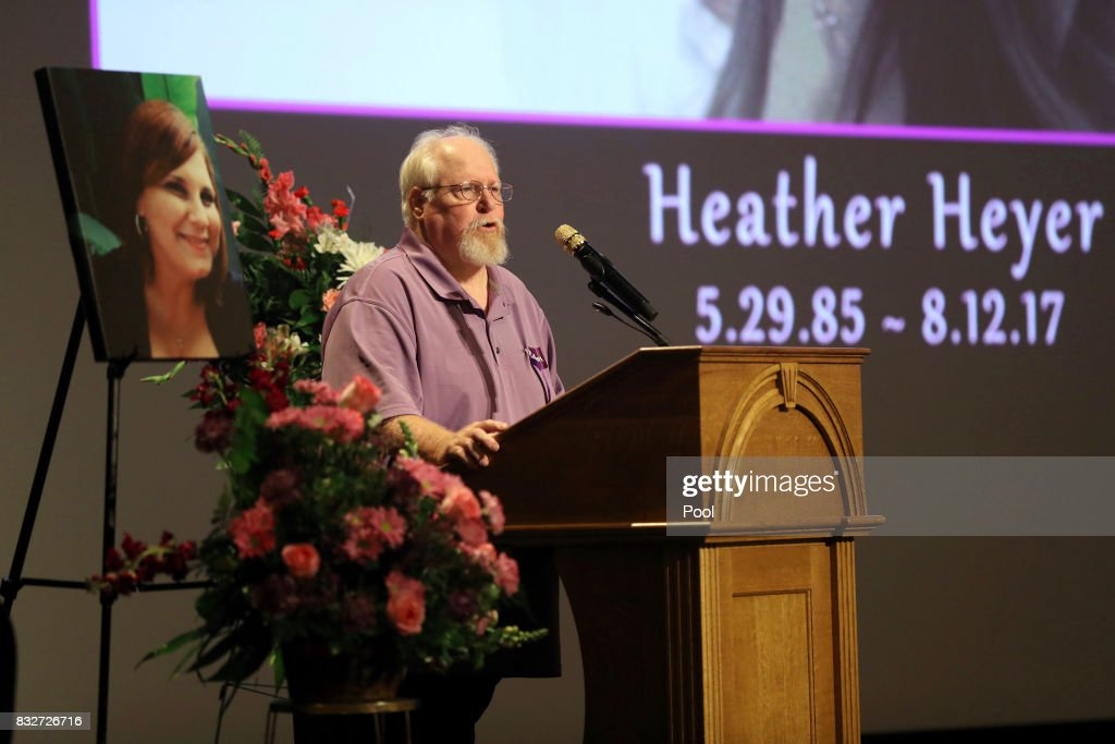 Mark Heyer, the father of Heather Heyer, speaks during a memorial service for his daughter at the Paramount Theater on August 16, 2017 in Charlottesville, Va. Heyer was killed Saturday, when a car rammed into a crowd of people protesting a white nationalist rally.