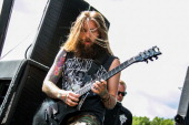 Mark Heylmun of Suicide Silence performs at the Rockstar Energy Drink Mayhem Festival at DTE Energy Music Theater on July 17 2014 in Clarkston...