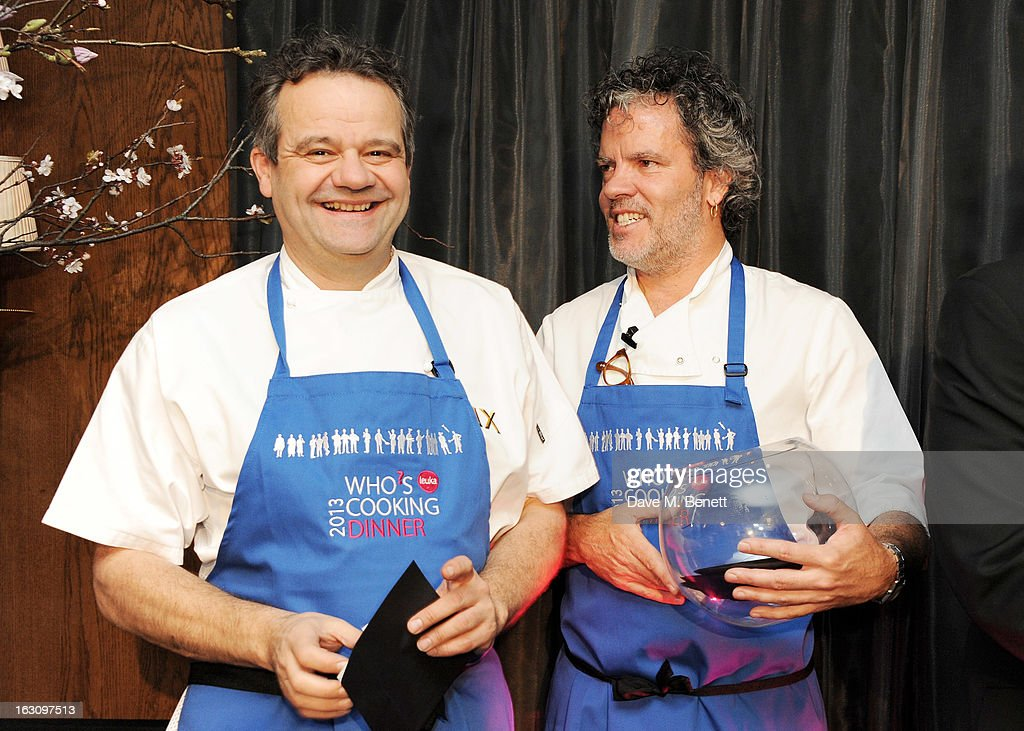 Mark Hix (L) and Peter Gordon attend the 'Who's Cooking Dinner?' charity event, featuring 20 of the capital's finest chefs cooking dinner for 200 diners in aid of leukaemia charity Leuka, at the Four Seasons Hotel on March 4, 2013 in London, England.
