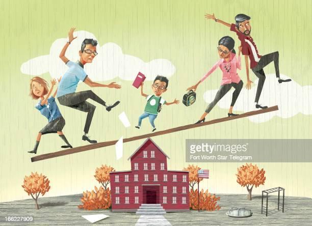 Mark Hoffer color illustration of child balancing on top of school inbetween two sets of parents