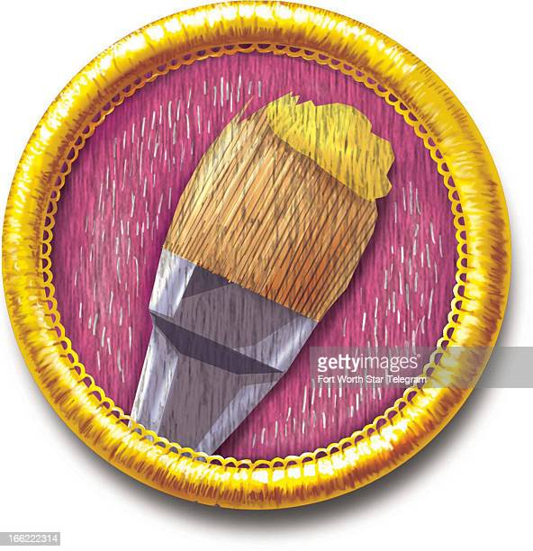Mark Hoffer color illustration of sewon art achievement badge with paintbrush icon