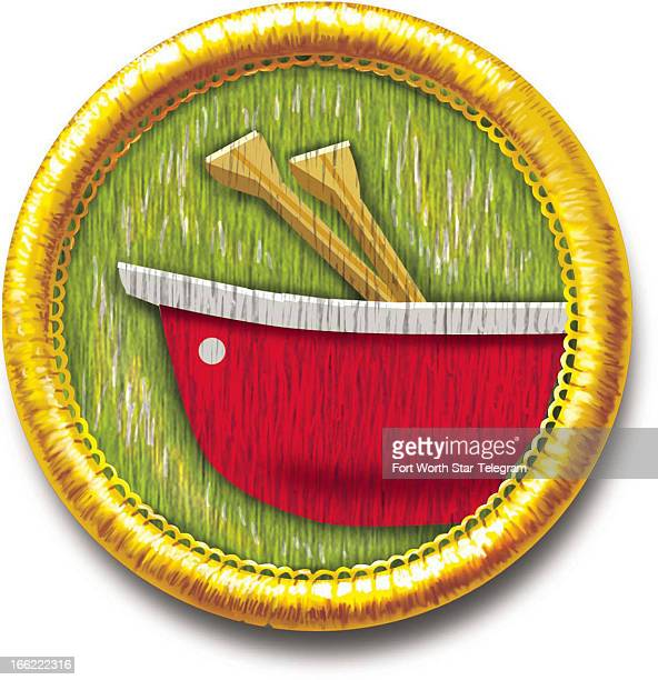 Mark Hoffer color illustration of sewon camping achievement badge with canoe icon