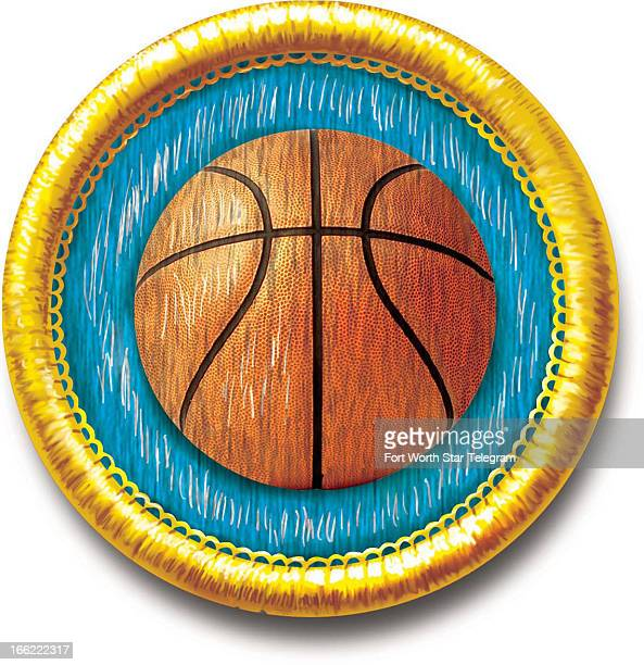 Mark Hoffer color illustration of sewon sports achievement badge with basketball icon