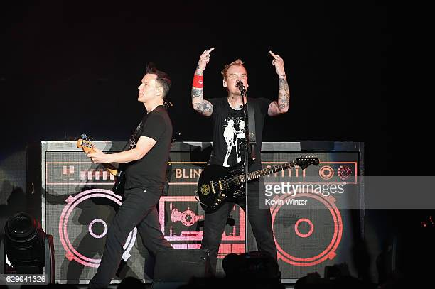 Mark Hoppus and Matt Skiba of the band Blink182 perform onstage at 1067 KROQ Almost Acoustic Christmas 2016 Night 1 at The Forum on December 10 2016...