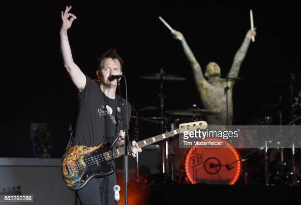 Mark Hoppus and Travis Barker of Blink 182 perform during the 2017 Life is Beautiful Festival on September 22 2017 in Las Vegas Nevada