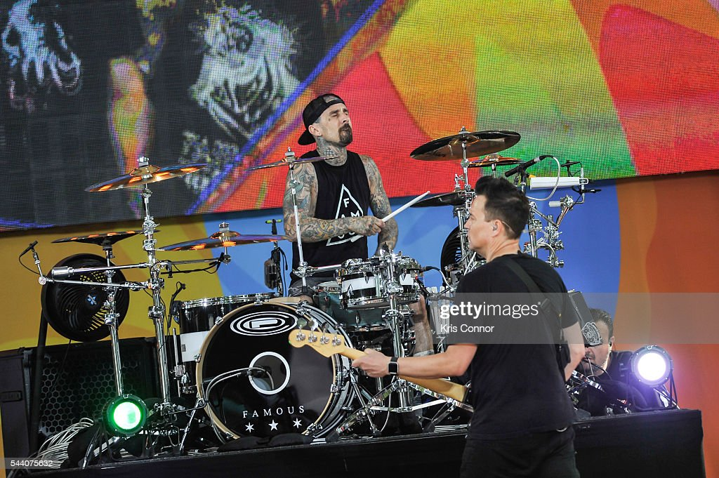Mark Hoppus and Travis Barker of Blink 182 perform on ABC's 'Good Morning America' Summer Concert Series in Central Park on July 1, 2016 in New York City.