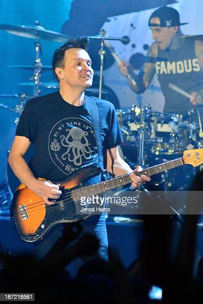 Mark Hoppus and Travis Barker of Blink182 performs at the Hollywood Palladium on November 6 2013 in Hollywood California
