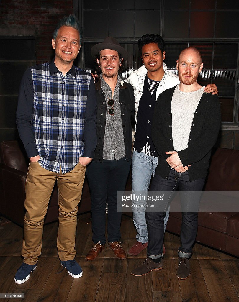 Mark Hoppus, Lorenzo Sillitto, Dougy Mandagi and Joseph Greer members of band The Temper Trap visit fuse Studios on April 3, 2012 in New York City.