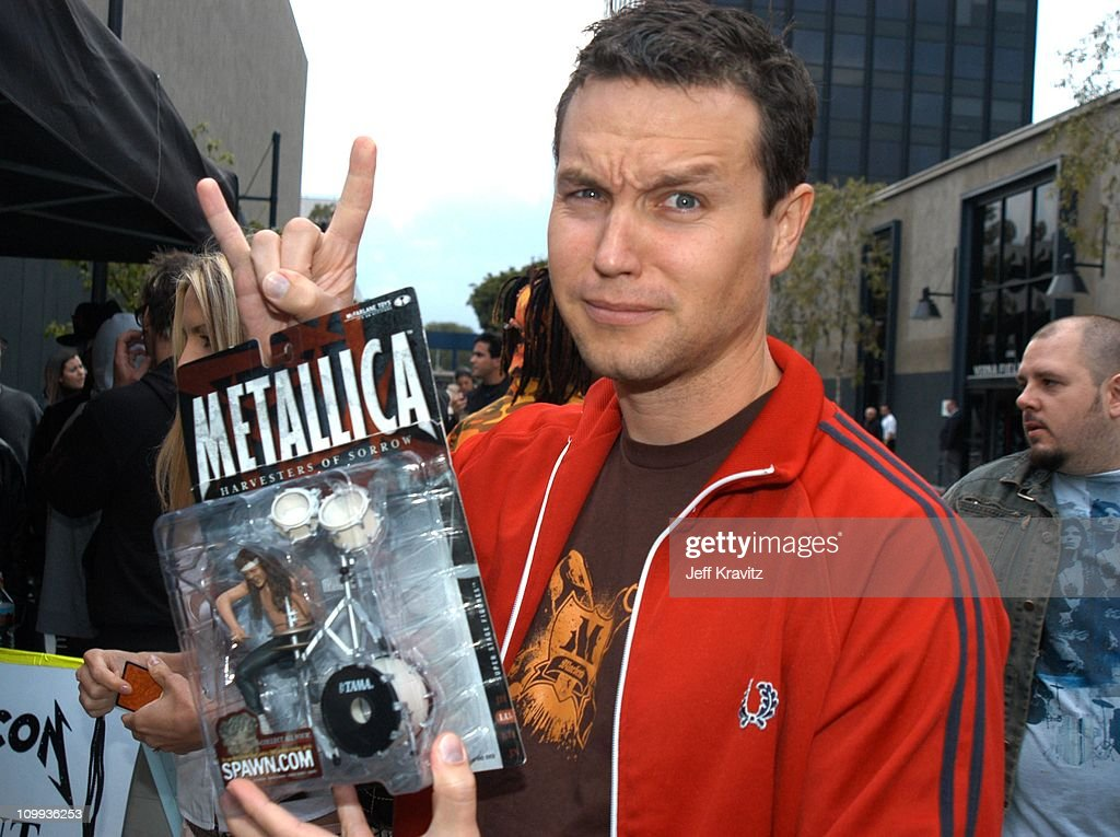 <a gi-track='captionPersonalityLinkClicked' href=/galleries/search?phrase=Mark+Hoppus&family=editorial&specificpeople=211529 ng-click='$event.stopPropagation()'>Mark Hoppus</a> of Blink 182 during MTV Icon - Metallica - Arrivals at Universal Studios Stage 12 in Universal City, CA, United States.