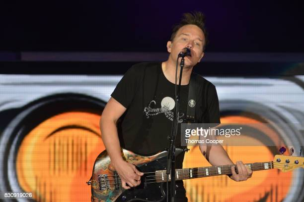 Mark Hoppus of Blink 182 performs at Fiddler's Green Amphitheatre on August 12 2017 in Englewood Colorado