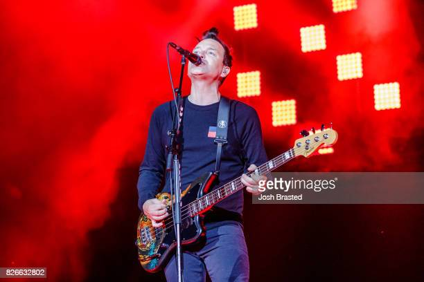Mark Hoppus of Blink 182 performs at Lollapalooza 2017 at Grant Park on August 4 2017 in Chicago Illinois