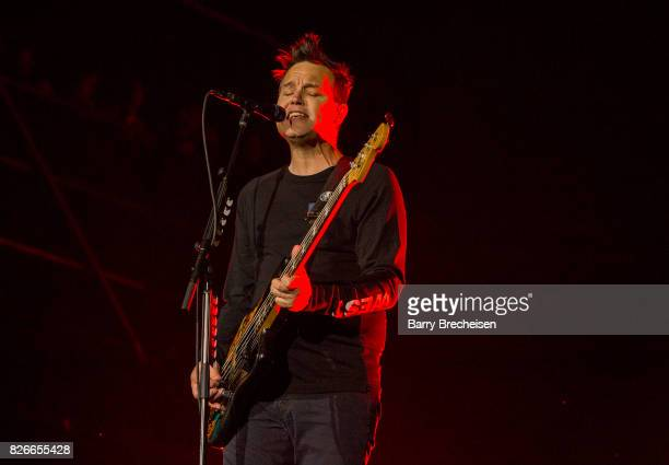 Mark Hoppus of Blink 182 performs during the 2017 Lollapalooza Day One at Grant Park on August 4 2017 in Chicago Illinois